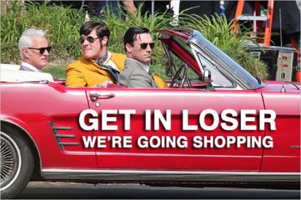 "Jon Hamm, John Slattery and Rich Sommer film a scene for their hit TV show ""Mad Men"" in Los Angeles"